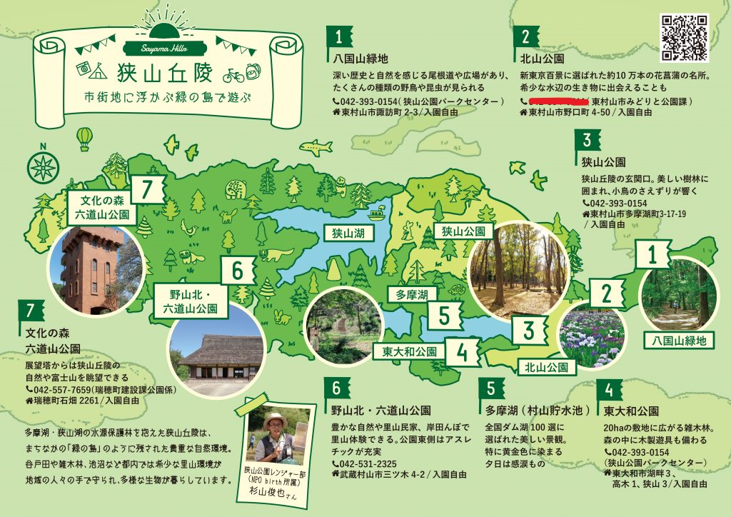 観光図鑑カード自然編  №5 狭山丘陵  ② 北山公園  東村山市みどりと公園課の電話番号に相違がありました。お詫びして訂正いたします。          正しくは☎042-393-5111です。